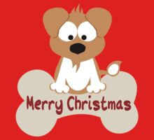 Christmas Dog In Red One Piece - Short Sleeve