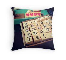 ABC Stamps Throw Pillow