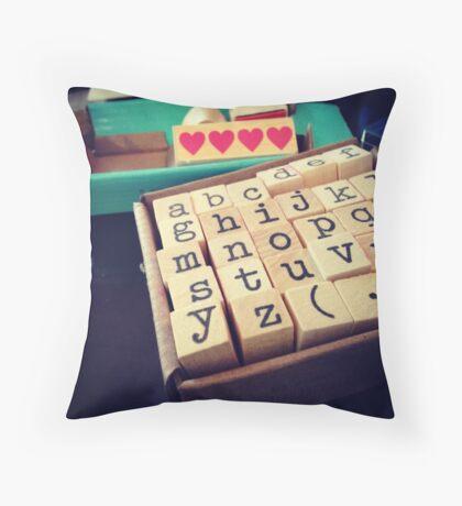 ABC Stamps Throw Pillow