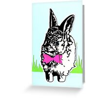 Bunny on the Grass with Bow-tie Greeting Card