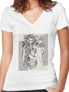 Woman Warrior Women's Fitted V-Neck T-Shirt