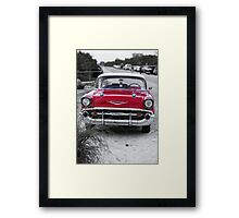 Old Red Chevy BelAir at the beach Framed Print
