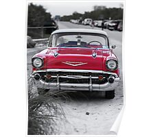 Old Red Chevy BelAir at the beach Poster