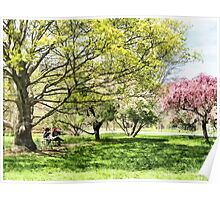 Lunch in the Park in Spring Poster