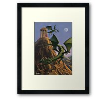 Dragons flying around a temple on mountain top  Framed Print