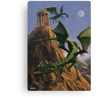 Dragons flying around a temple on mountain top  Canvas Print