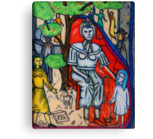 Beggar with child and dog Canvas Print
