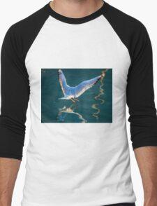 seagull flying on lake Men's Baseball ¾ T-Shirt