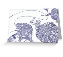 Blue Cat Doodle Drawing Greeting Card