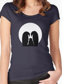 Penguin Family in Front of a Full Moon  Women's Fitted Scoop T-Shirt