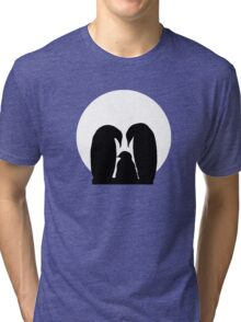 Penguin Family in Front of a Full Moon  Tri-blend T-Shirt