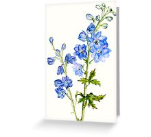 Delphinium blue watercolor art Greeting Card