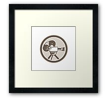 Film Movie Camera Vintage Circle Retro Framed Print