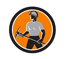 Coal Miner Holding Pick Axe Side Circle Retro by patrimonio