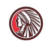 Native American Warrior Chief Circle by patrimonio