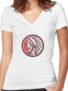 Native American Warrior Chief Circle Women's Fitted V-Neck T-Shirt