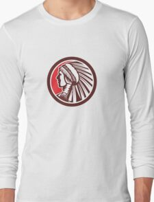 Native American Warrior Chief Circle Long Sleeve T-Shirt