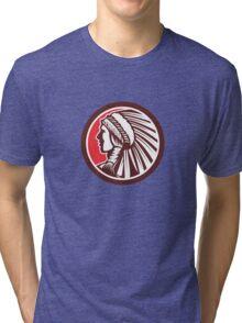 Native American Warrior Chief Circle Tri-blend T-Shirt