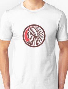 Native American Warrior Chief Circle Unisex T-Shirt