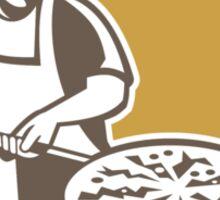 Pizza Maker Baking Bread Shield Retro Sticker