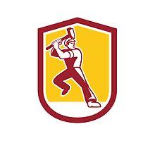 Union Worker Striking Sledgehammer Crest Retro by patrimonio