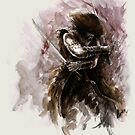 Samurai art Ronin Avatar sword samurai art print samurai helmet samurai monk armor samurai  japanese style japan painting abstract modern Original watercolor painting by Mariusz Szmerdt by Mariusz Szmerdt