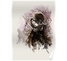 Samurai art Ronin Avatar sword samurai art print samurai helmet samurai monk armor samurai  japanese style japan painting abstract modern Original watercolor painting by Mariusz Szmerdt Poster