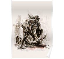 Crusader knight Templar knight long sword warrior demons and skull poster horror movie Dungeons&Dragons scary poster Knight wall decor mens cool gift axeman knight Poster