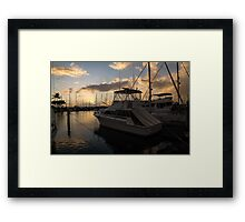 Lines, Masts and Clouds - Ala Wai Boat Harbor, Waikiki, Honolulu, Hawaii  Framed Print