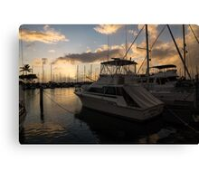 Lines, Masts and Clouds - Ala Wai Boat Harbor, Waikiki, Honolulu, Hawaii  Canvas Print