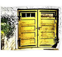 Old wooden garage door Poster