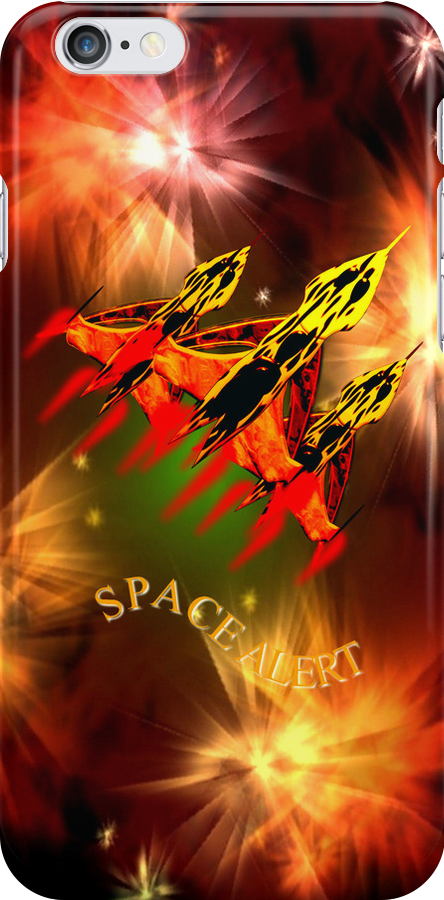 Space Alert a trio of Space Interceptors iPhone/iPad/Samsung cases by Dennis Melling