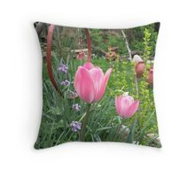 Pink Tulips in Romania Throw Pillow