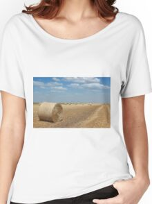field with straw bale agriculture industry Women's Relaxed Fit T-Shirt