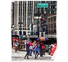 Chicago IL - Rainy Day on E Wacker Drive Poster
