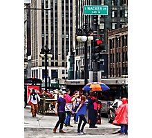 Chicago IL - Rainy Day on E Wacker Drive Photographic Print