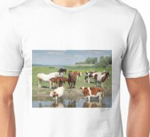 farm animals on river Unisex T-Shirt