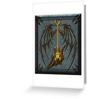Vampir Skull Guitar Digital Art Greeting Card