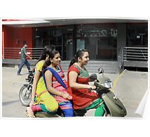 Three Girls on Scooter Poster
