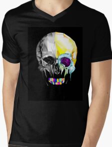 Graphic Geometric Low Poly Skull Design Mens V-Neck T-Shirt