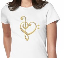 MUSIC HEART, Love, Music, Bass Clef, Treble Clef, Classic, Dance, Electro Womens Fitted T-Shirt