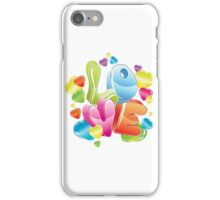 Bright 3d love word and glossy hearts iPhone Case/Skin