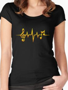 Music Pulse, Notes, Clef, Frequency, Wave, Sound, Dance Women's Fitted Scoop T-Shirt