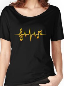 Music Pulse, Notes, Clef, Frequency, Wave, Sound, Dance Women's Relaxed Fit T-Shirt