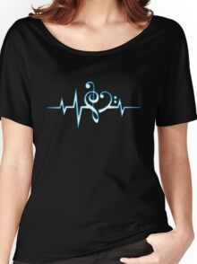 MUSIC HEART PULSE, Love, Music, Bass Clef, Treble Clef, Classic, Dance, Electro Women's Relaxed Fit T-Shirt
