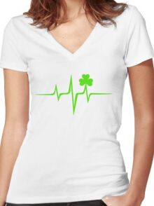 Music Pulse Irish, Frequency, Wave, Sound, Shamrock Women's Fitted V-Neck T-Shirt