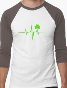 Music Pulse Irish, Frequency, Wave, Sound, Shamrock Men's Baseball ¾ T-Shirt