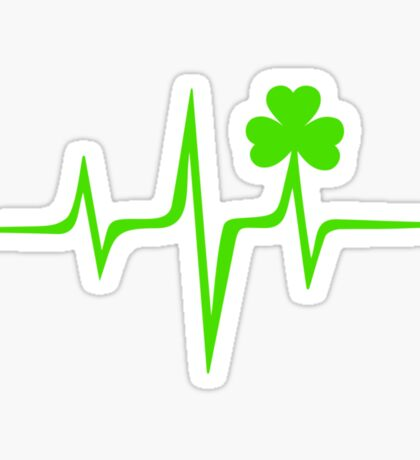 Music Pulse Irish, Frequency, Wave, Sound, Shamrock Sticker