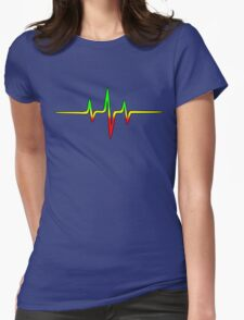 Music Pulse, Reggae, Sound Wave, Rastafari, Jah, Jamaica, Rasta Womens Fitted T-Shirt