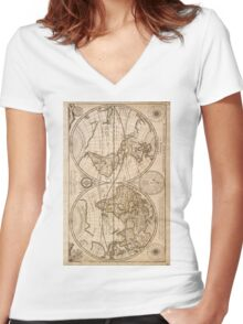 Old Maps Women's Fitted V-Neck T-Shirt